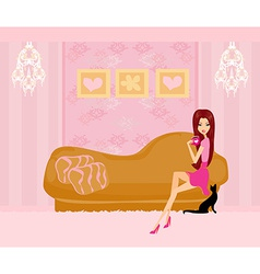 Girl in her home on coffee break vector