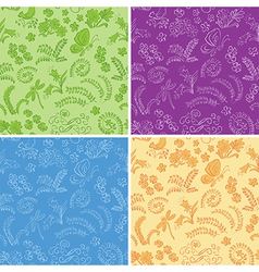 Color floral seamless backgrounds with nature vector