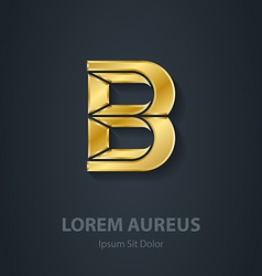 Letter b elegant gold font template for company vector