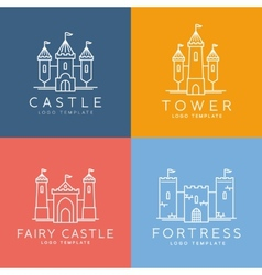 Abstract castle line style logo template vector