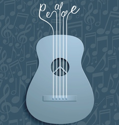 Abstract guitar and peace symbol with notes vector