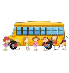 Kids and school bus vector