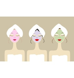 Pretty women with cosmetic mask on faces vector