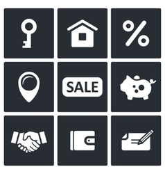 Real estate deal icon collection vector