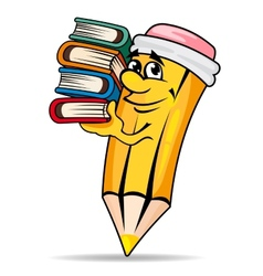 Smiling pencil with books vector
