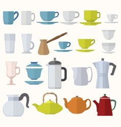 Flat style dinnerware cups mugs and pots set vector