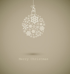 Christmas ball made from gray snowflakes on gray vector
