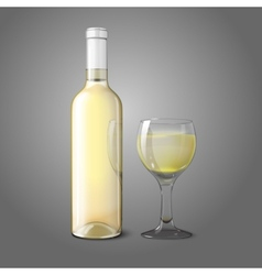 Blank realistic bottle for white wine with glass vector