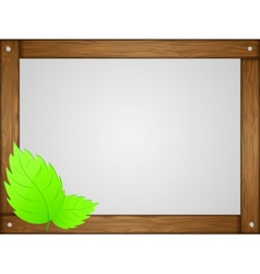 Wooden frame leaves vector