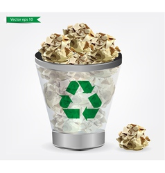 Trashcan paper recycle vector