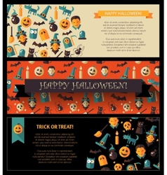 Set of flat design halloween card templates vector