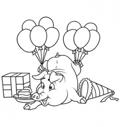 Piglet and celebration vector