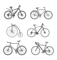 Set of silhouettes bicycles vector
