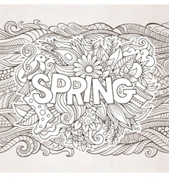 Spring hand lettering and doodles elements vector