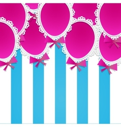 Simple paper balloons with lace and bows on a vector