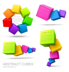 Set of colorful cubes 3d vector