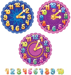 Funny clock for kids and numbers vector