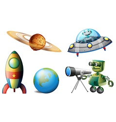 Spaceships and robots vector