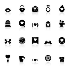 Heart element icons with reflect on white vector