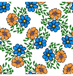 Seamless color pattern with flowers vector
