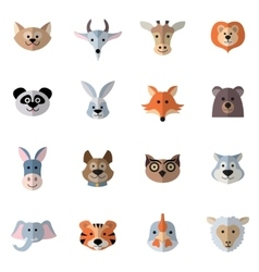 Animals heads flat vector
