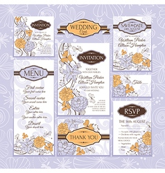 Floral wedding cards vector