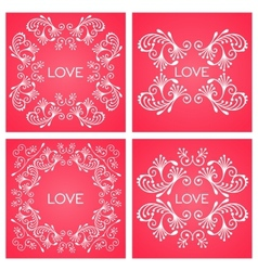 Set floral decorative frame vector