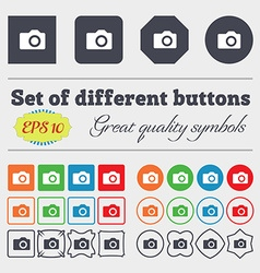 Digital photo camera icon sign big set of colorful vector