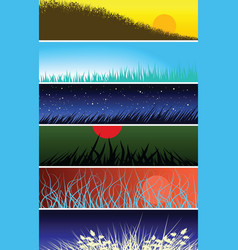 Grassy banners vector