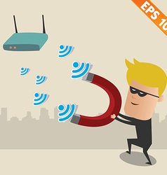 Hacker on wireless network - - eps10 vector