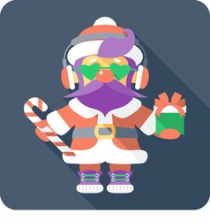 Hipster santa claus standing with gifts vector