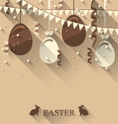 Easter background with chocolate eggs serpentine vector
