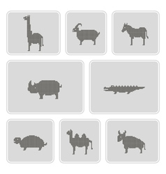 Monochrome icons with wild animals vector