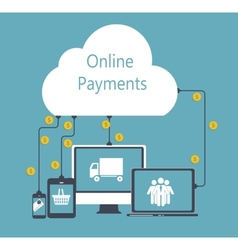 Online payments flat concept vector