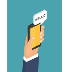 Mobile instant messenger chat 3d flat isometric vector
