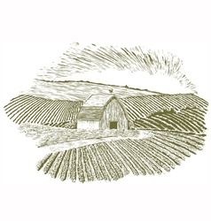 Woodcut rural farm setting vector