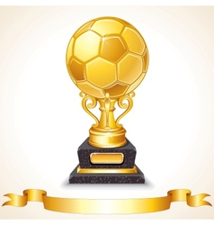 Abstract golden soccer trophy vector