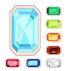 Rectangle gemstone set vector