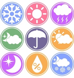 Weather icons on a colored background vector