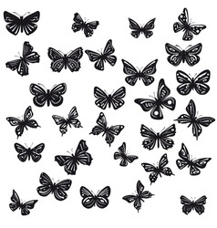 Silhouettes of butterflies vector