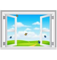 Open white window with scenery vector