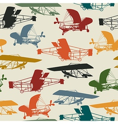 Seamless pattern with historical planes vector