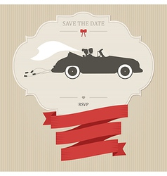 Vintage wedding invitation with retro car dragging vector