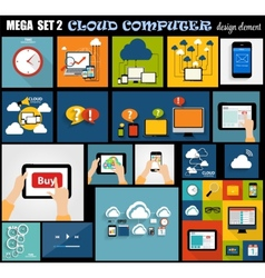 Mega set flat computer design vector