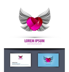 Heart and wings logo icon emblem template business vector