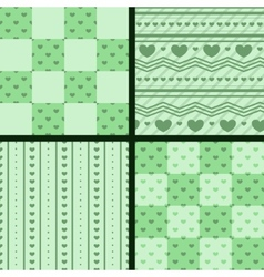 Set of patterns with green hearts vector