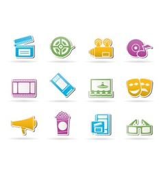Movie theater and cinema icons vector