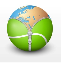 Planet earth inside tennis ball vector