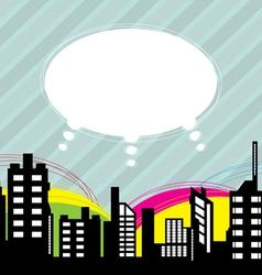 City with speech balloon vector