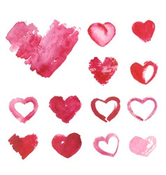 Set of watercolor painted pink heart vector